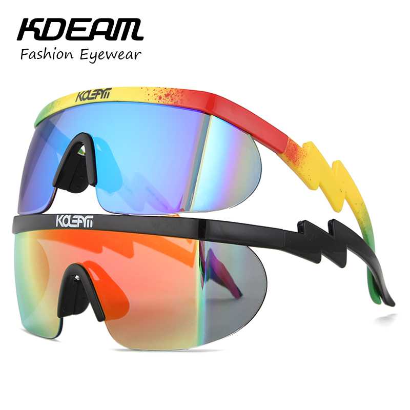KDEAM 2017 Summer New Sport eyewear Men Goggle Oversize Party Sunglasses flat top Square Sun glasses