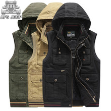 Fur Cotton Inside Autumn Winter 2018 New Warm Hooded Vests Men Pockets Big Many Design Plus Size Loose Thick New Style Velvet