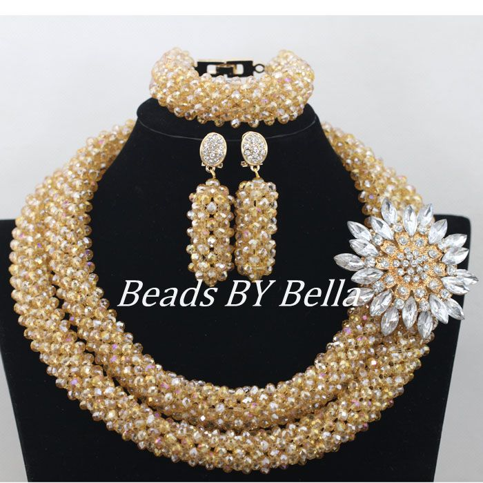 Marvelous Gold Crystal Beads African Costume Jewelry Set Nigerian Wedding African Beads Jewelry Set Free Shipping ABF174