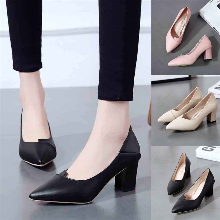 Ladies  Shoes Women'sFashion Ladies Thick With High Heel Pointed Shoes Single Shoes Business Shoes Dress Style  For LadiesA#18