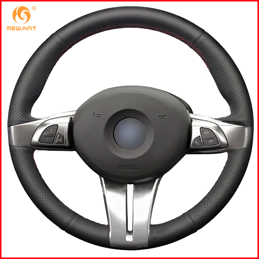 MEWANT Black Genuine Leather Car Steering Wheel Cover for BMW Z4 2003 2004 2005 2006 2007
