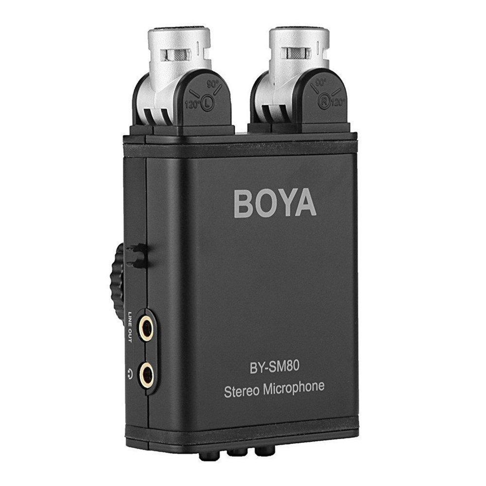 BOYA BY-SM80 Mini Stereo X/Y Condenser Microphone Mic for Canon Nikon Sony Pentax DSLR Camera boya by vm190 stereo shotgun microphone w windshield for canon nikon pentax dslr camera