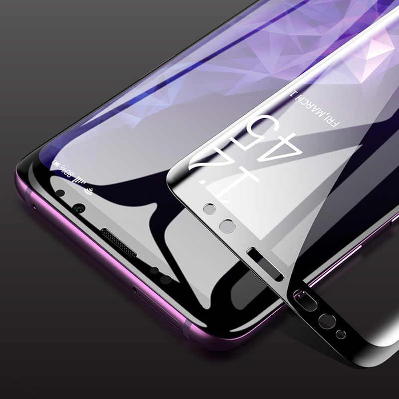 3D منحني الزجاج المقسى لسامسونج غالاكسي S8 s9 الزجاج كامل الغراء واقي للشاشة لسامسونج ملاحظة 8 9 غطاء كامل واقية