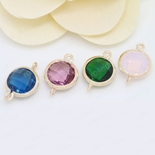 4PCS 12x17MM 24K Champagne Gold Color or Silver Brass with Round Colourful Glass Beads 2 holes Connect Charms Accessories