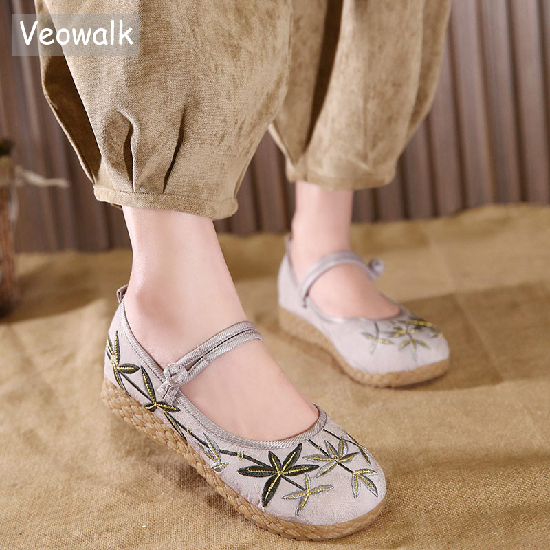 Veowalk Brand Leaf Embroidered Women Soft Cotton Fabric Flat Ballet Flats Ankle Strap Elegant Ladies Comfort Platform Shoes fashion cartoon designs nail stamping plates nail art image stamp plates manicure set template nail tool lc 18