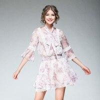 Chiffon Fashion 2 Pieces Women Fresh Half Flare Sleeve Summer 2017 Sweet Print Shirt + Wasit Elastic Mini Skirt Sweet Twinset
