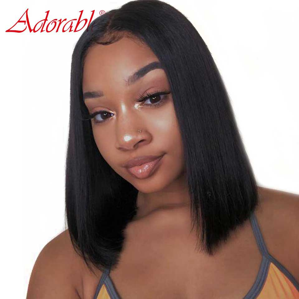 Short Lace Front Pre Plucked Human Hair Wigs Bob Silky Straight Wig Human Hair Remy 13*6 Swiss Lace Brazilian Wigs Glueless(China)