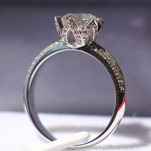 Humor 3ct Round Cut Lotus Flower White Diamond Wedding Bridal Ring In 14k White Gold Diamond