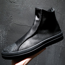 2019 new Spring and Autumn Genuine Leather mens high-top boots Korean Slip-On fashion leather Joker casual shoes Yasilaiya