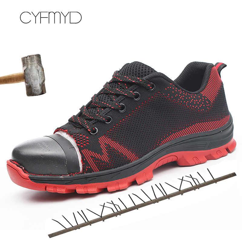 Защитная обувь для мужчин, кроссовки, дышащая износостойкая мужская повседневная рабочая обувь, стальной носок, анти-пирсинг, Теннисный размер 46/47/48