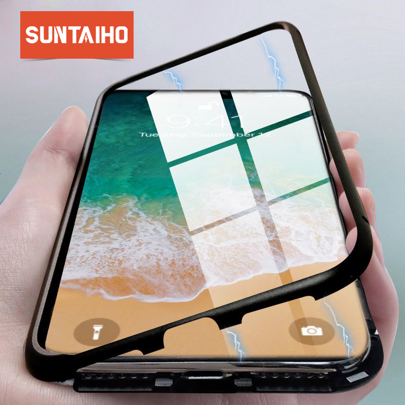 Suntaiho Ultra Adsorbimento Magnetico Cassa Del Telefono Per il iphone XS MAX R 8 7 6 S Plus Coque di Lusso del Metallo Magnete copertura di Vetro posteriore Fundas
