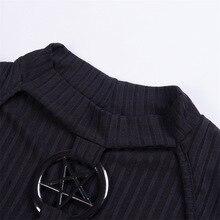 Harajuku vintage old school retro black gothic metal Pentacle long sleeve hollow out crop top crop tee tshirts YQ-789