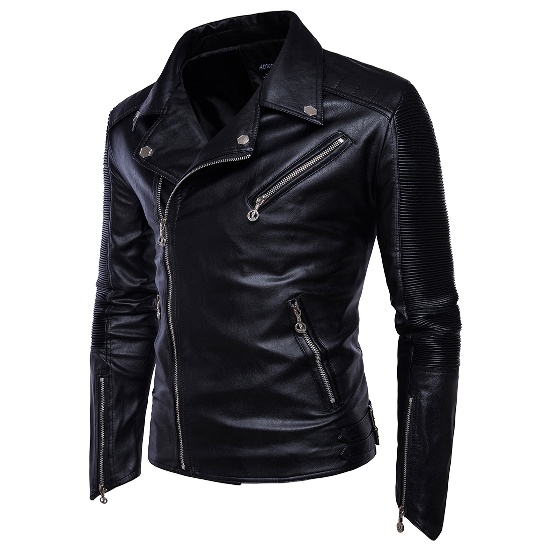 2018 Brand Motorcycle Leather Jacket Men Autumn and Winter Leather Clothing Mens Leather Jackets Male Black Casual Coats