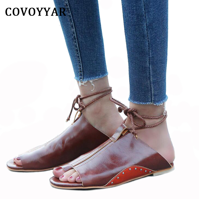 COVOYYAR 2018 Ankle Strap Women's Sandals Vintage PU Leather Rivets Flip Flops Lace Up Ladies Summer Casual Flat Shoes WSS796 original intention elegant women ankle boots platform round toe thin heels boots black white red shoes woman plus us size 3 16