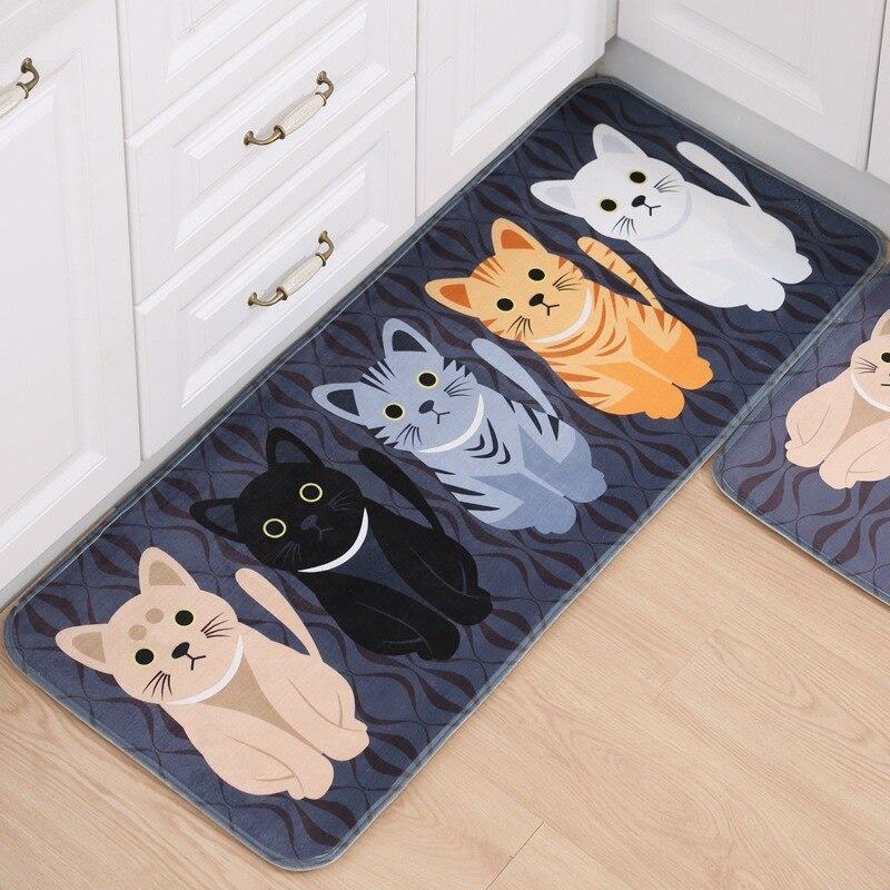 Welcome Floor Mats Animal Cat Printed Bathroom Kitchen Carpets Doormats Cat Floor Mat for Living Room Anti-Slip Tapete floor