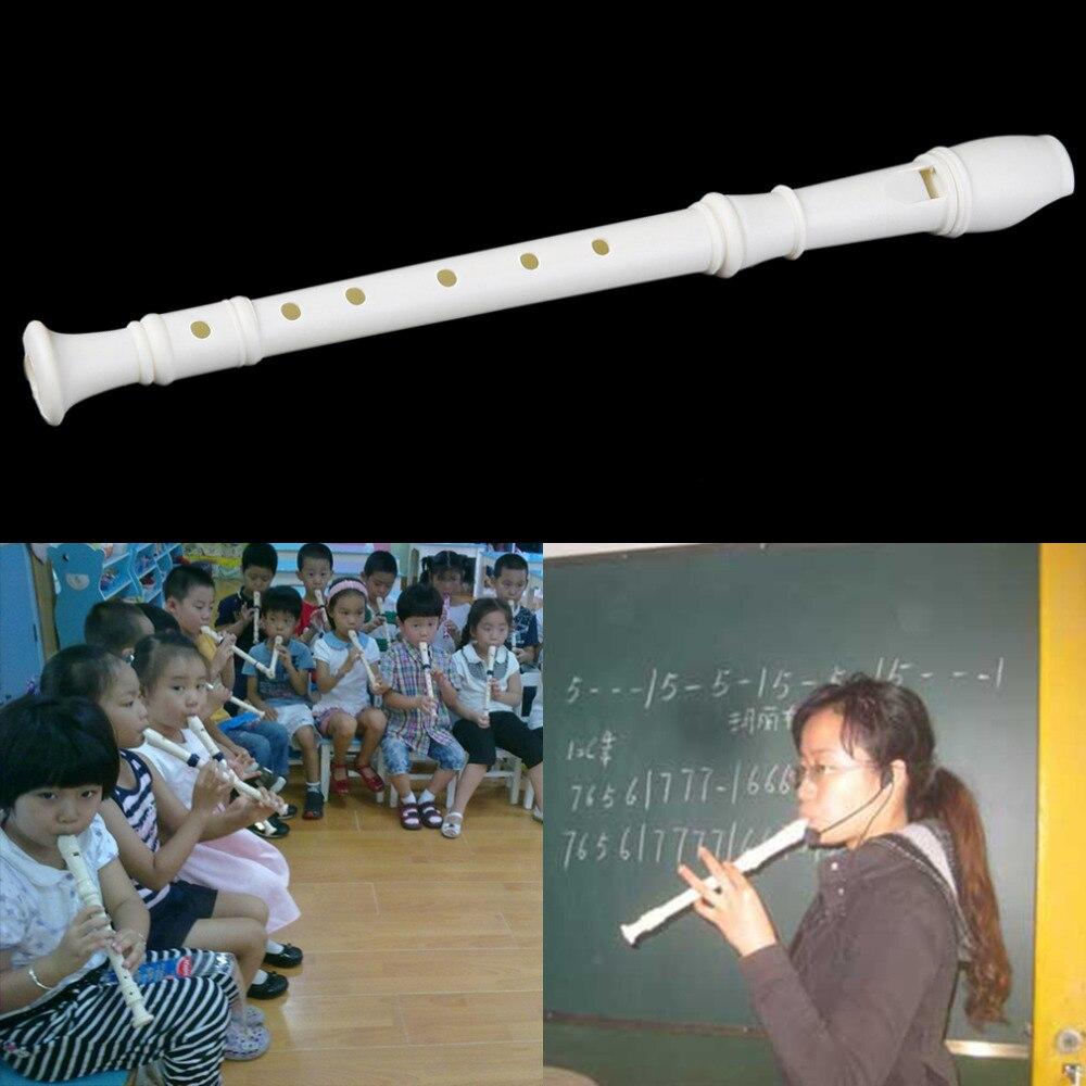 White Plastics Instrument 6 Holes Musical Soprano Recorder Flute Long