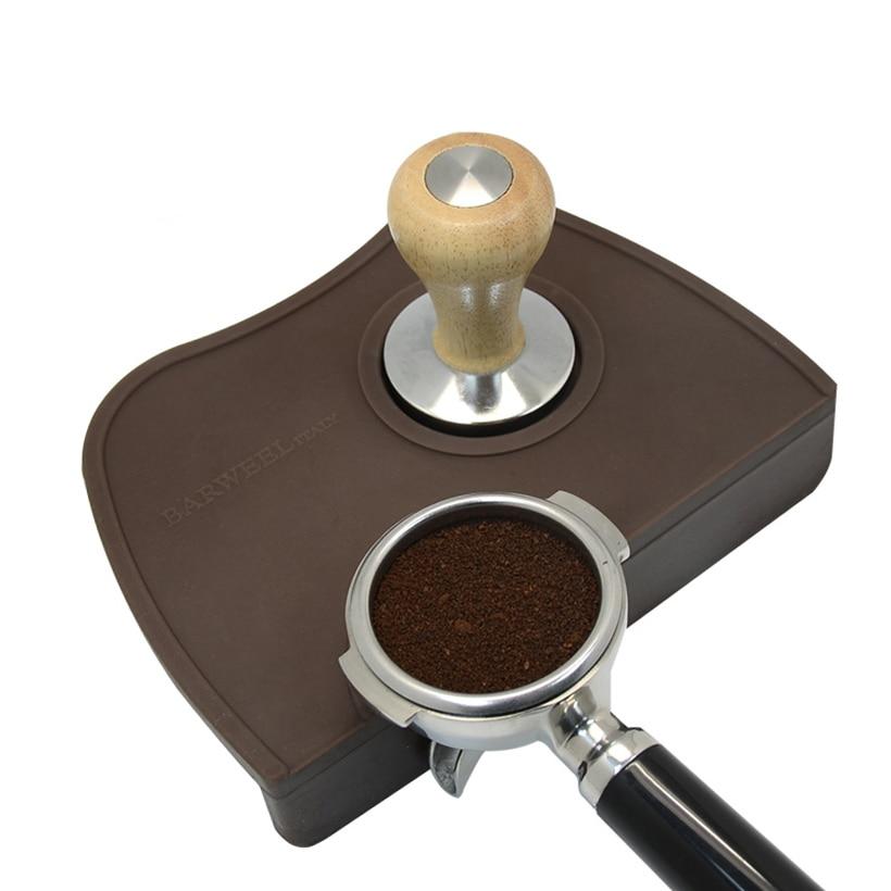 Espresso Coffee Tamper Mat Silicon Rubber Corner Mat Slip Resistant Pad Tool Holder Barista Coffee Tamping Mat(China)