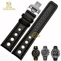 Genuine Leather Watch Strap Watchband Wristwatch Belt Mens Leather Bracelet 20mm Sport Wristwatches Band Red Orange