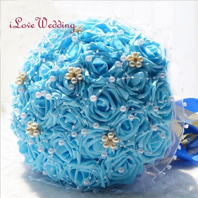 Есть в Наличии Синий Свадебный Букет Ручной Работы Люкс Для Невесты Цветок buque де noiva Искусственный Цветок Розы с Жемчугом Кристалл