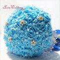 Em Estoque Azul buque de noiva Buquê de Casamento Artesanal de Noiva Dama De Honra Flor Artificial Flor Rosa com Pérolas de Cristal