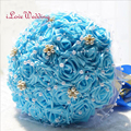 In Stock Blue Wedding Bouquet Handmade Bridal Bridesmaid Flower buque de noiva Artificial Flower Rose with Pearls Crystal