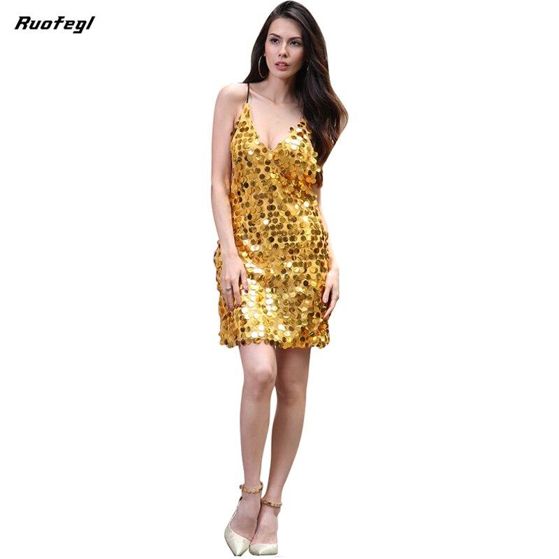 Buy Cheap Ruofegl Deep V neck dress with sequins Backless luxury slip dress sexy party short club dress women summer vestido rockabilly