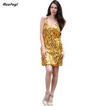 Ruofegl Deep V neck dress with sequins Backless luxury slip dress sexy party short club dress women summer vestido rockabilly