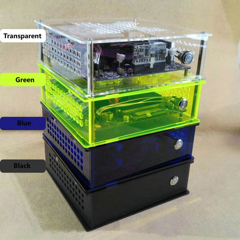 Simple ITX transparent mini chassis industrial 17*17cm motherboard case with 84W Power S ...