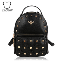 Высокое качество заклепки женские рюкзаки дамы известный дизайнер дорожные сумки моды элегантный дизайн сумки