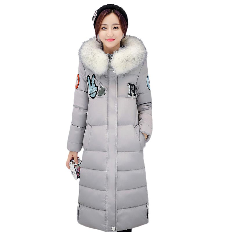 Подробнее о Women Parkas 2017 Fur Collar Hooded Cotton Padded Jacket X-Long Thick Warm Outwear Print Patch Coat Female Plus Size PW0720 new winter jacket men cotton parkas padded long black thick warm casual hooded fur collar jacket coat outwear zipper jackets