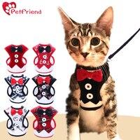 Cat Dog Harness Vest With Leash Bowtie Gentleman Suit Tuxedo Cute Bowknot Jacket Leash Set