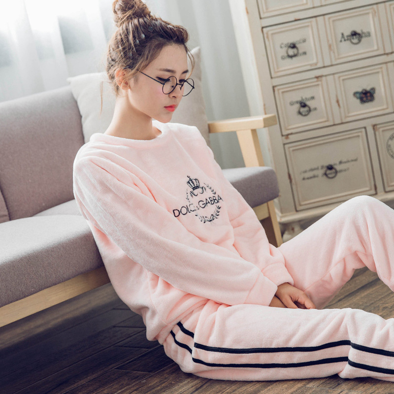 24a5602314 Thick Warm Flannel Pajamas Sets Winter Women Two Piece Pajama Set Cartoon  Female Sleepwear Home Clothing Women s Pajamas Suit