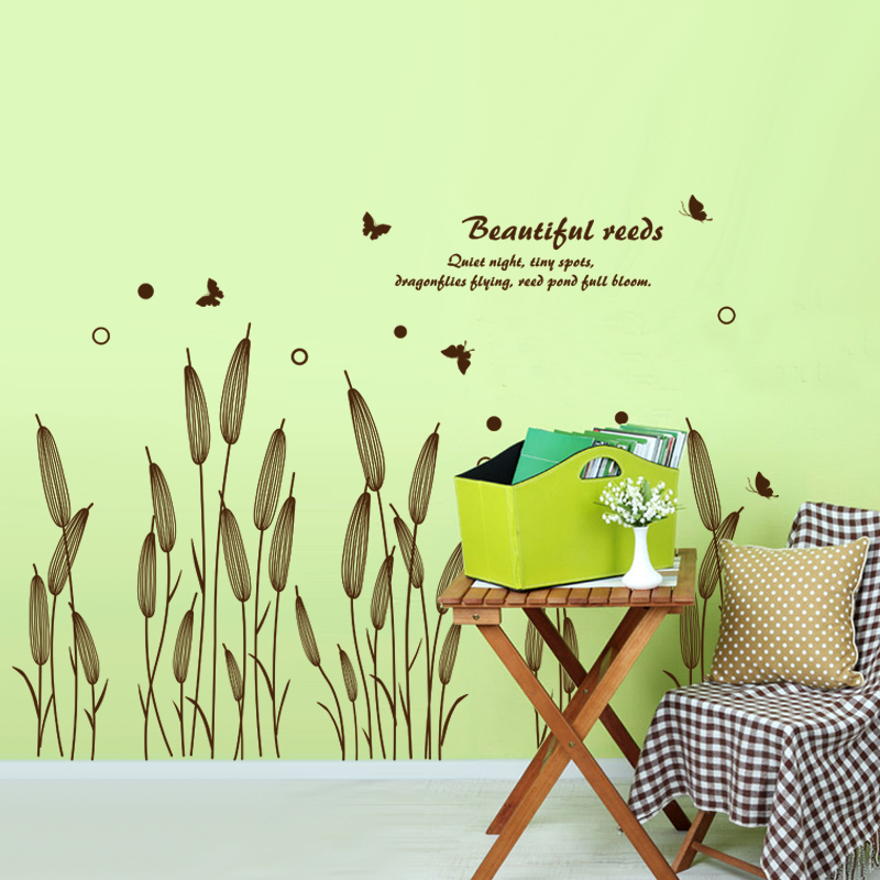 shijuehezi abstract reed grass wall sticker baseboard decals for