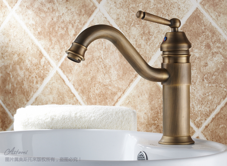 Lavatory Faucets Copper antique basin fashion hot and cold faucet rotating