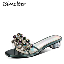 Bimolter Studded Leather & PV Slippers Pearl Beads Beach Sandals Dark Green Yellow Mules Crystal Women Flat Slides Shoes NB135 rhinestone slippers women colorful crystal studded flat beach shoes women outdoor cozy mules summer sandals zapatos mujer