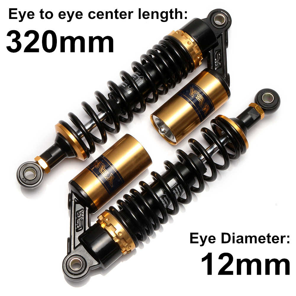 "Universal 320mm 12.5"" Motorcycle Air Shock Absorber Rear Suspension For Yamaha Motor Scooter ATV Quad Dirt Bike Gold&Black D15"