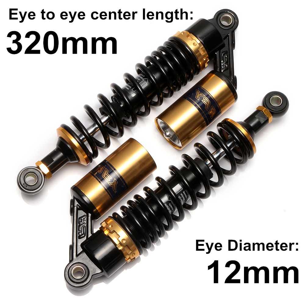 Universal 320mm 12.5 Motorcycle Air Shock Absorber Rear Suspension For Yamaha Motor Scooter ATV Quad Dirt Bike Gold&Black D15Universal 320mm 12.5 Motorcycle Air Shock Absorber Rear Suspension For Yamaha Motor Scooter ATV Quad Dirt Bike Gold&Black D15