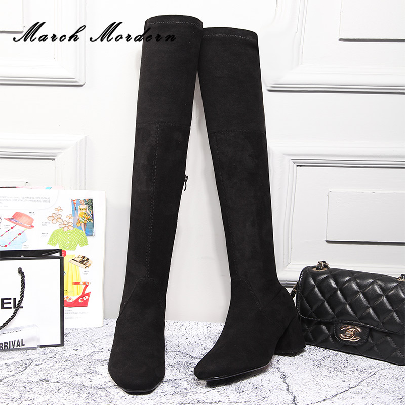 March Mordern Ladies Slim Boots High Women Snow Boots Womens Fashion Winter Thigh Boots Female Med Heel Over Knee Boots