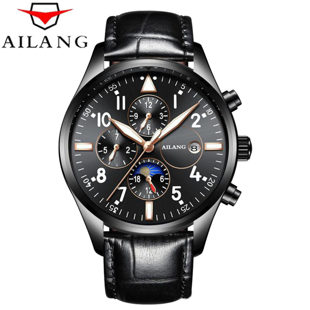 AILANG Brand Automatic Mechanical Watches Men Waterproof Sports Auto Date Leather Watch Men Automatic Mechanical Watches Relogio unique smooth case pocket watch mechanical automatic watches with pendant chain necklace men women gift relogio de bolso