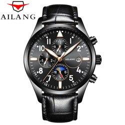 AILANG marka automatyczny zegarki mechaniczne mężczyźni wodoodporna sport Auto data skórzany zegarek mężczyźni automatyczne zegarki mechaniczne Relogio
