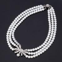 Vintage Elegant Bride Jewelry White Black Pearl Bead Rhinestone Choker Necklace Jewelry For Women Brand Accessories