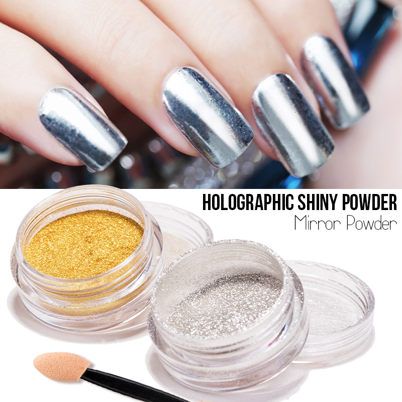 Silver And Gold Mirror Polish Powder For Nail Design Holographic