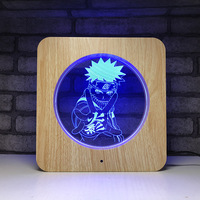 Wood Grain Naruto 3D Night Light 7 Color Changing Modelling Lighting Fixtures 3D Visual Anime USB Desk Table Lamp Home Decor
