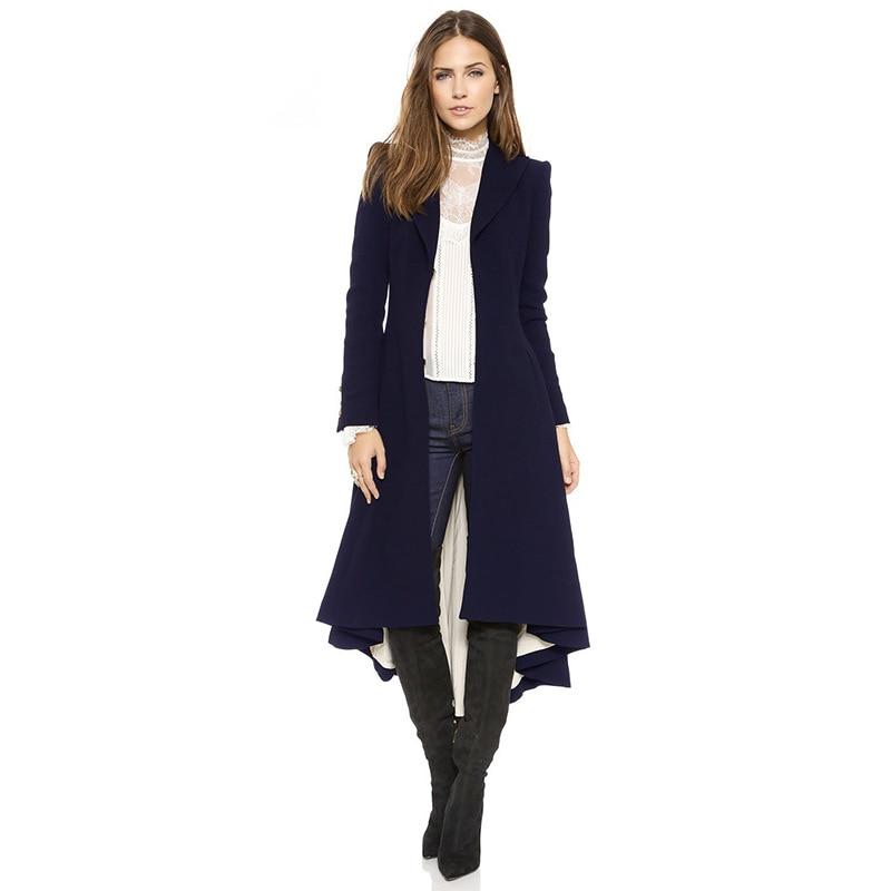 Sottile Nero Il Inverno Rondine Cappotto Donne Delle A Increspato Elegante Outwear Lana Coda Autunno blu Nero Di Navy Addensare Lungo AwW8pq0