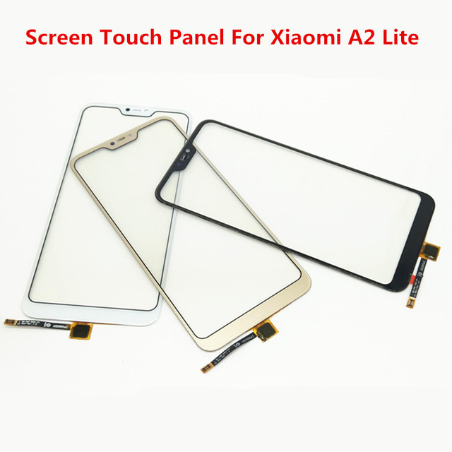 Pantalla táctil A2Lite para Xiaomi mi A2 Lite cubierta frontal de cristal pantalla LCD Panel exterior digitalizador Sensor piezas de reparación de lentes