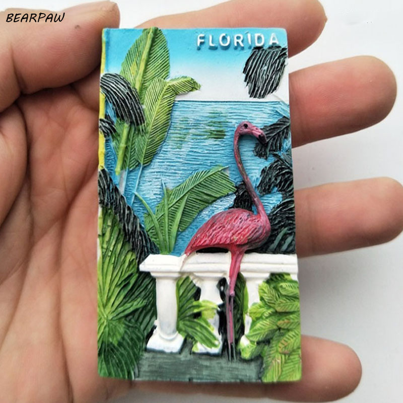1Pcs/set hot sale USA Florida Flamingo Tourist Travel Souvenir 3D Resin Decorative Fridge Magnet Craft GIFT