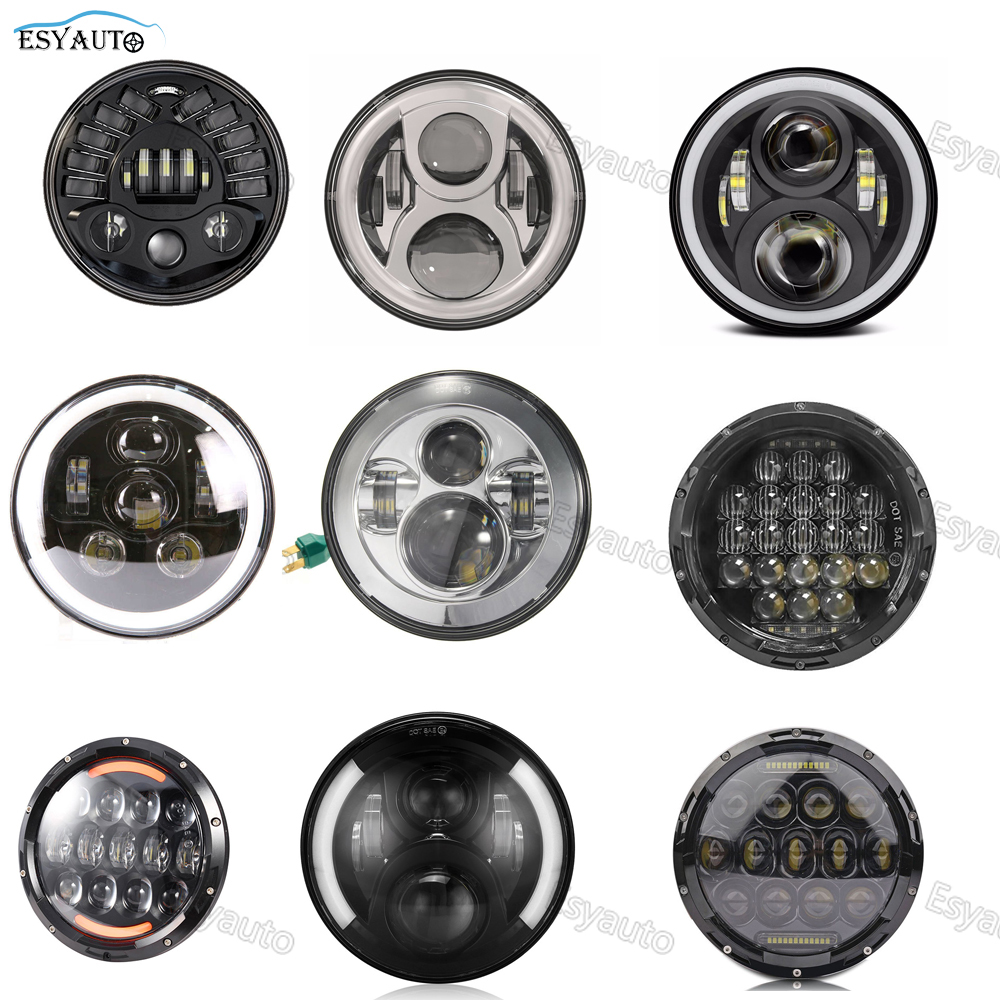 7 inch headlight High Low beam 7'' Round LED Headlamp for Harley Softail Touring Daymaker Projector partol 7 round led projector black headlight pc lens with drl for h d fld trike touring softail flhtcuse 7 sealed beam