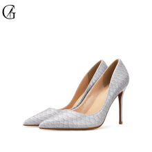 Купить с кэшбэком GOXEOU 2019 new shoes women size 32-46 Thin High Heels Sexy Pointed Toe Snakeskin Wedding Office Party  Handmade Free Shipping