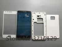 Volle Gehäuse abdeckung für samsung Galaxy S2 I9100 Mitte Lünette Rahmen + backplate + batterie zurück fall + front glas objektiv