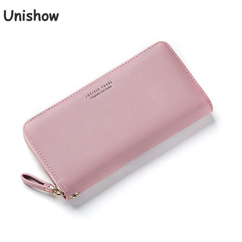 Unishow Women Long Wallet Wristband Large Capacity Wallets Female PU leather Purse Lady Coin Purses Phone Card Holder